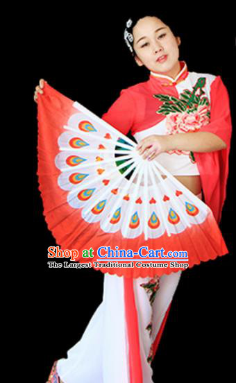 Traditional Chinese Folk Dance Red Ribbon Mulan Fan Stage Performance Yangko Dance Silk Folding Fan