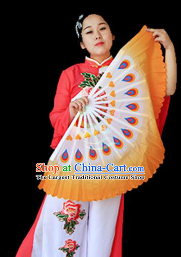 Traditional Chinese Folk Dance Orange Ribbon Mulan Fan Stage Performance Yangko Dance Silk Folding Fan