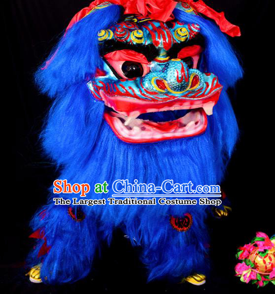 Chinese Traditional Lion Dance Costume Royalblue Fur Lion Head Lantern Festival Folk Dance Prop Complete Set