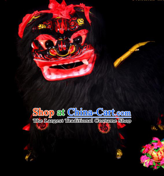 Chinese Traditional Lion Dance Costume Black Fur Lion Head Lantern Festival Folk Dance Prop Complete Set