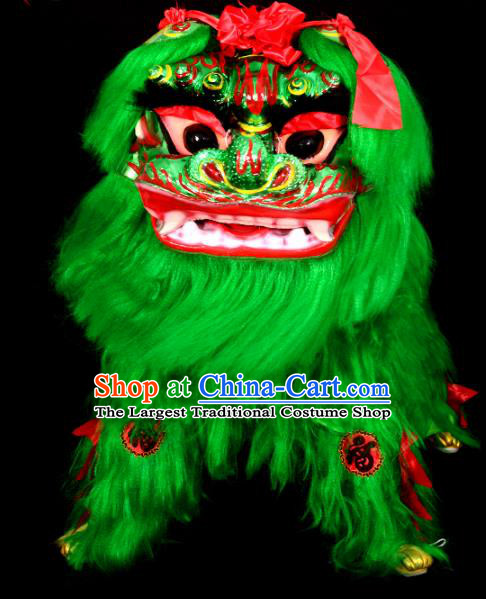 Chinese Traditional Lion Dance Costume Green Fur Lion Head Lantern Festival Folk Dance Prop Complete Set
