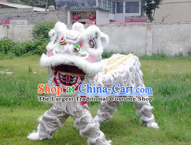 Chinese Traditional Lion Dance White Costume Fur Lion Head Lantern Festival Folk Dance Prop Complete Set