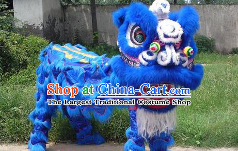 Chinese Traditional Lion Dance Royalblue Costume Fur Lion Head Lantern Festival Folk Dance Prop Complete Set