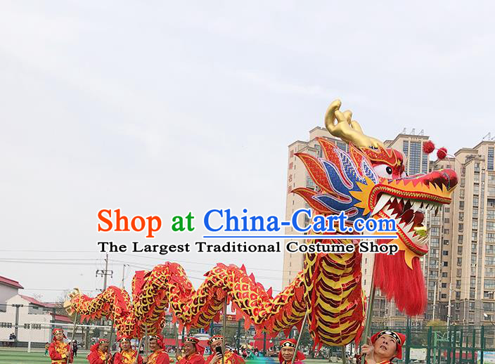 Chinese Traditional Dragon Dance Red Dragon Head Lantern Festival Folk Dance Prop Complete Set
