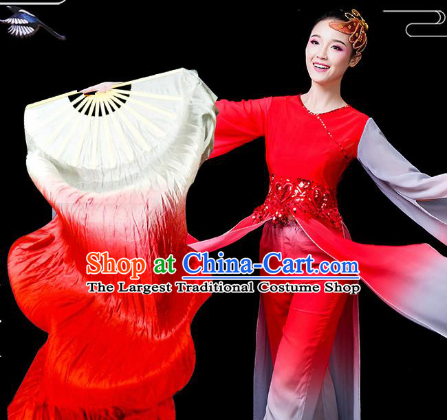 Traditional Chinese Folk Dance Red Silk Fan Stage Performance Yangko Dance Ribbon Folding Fan