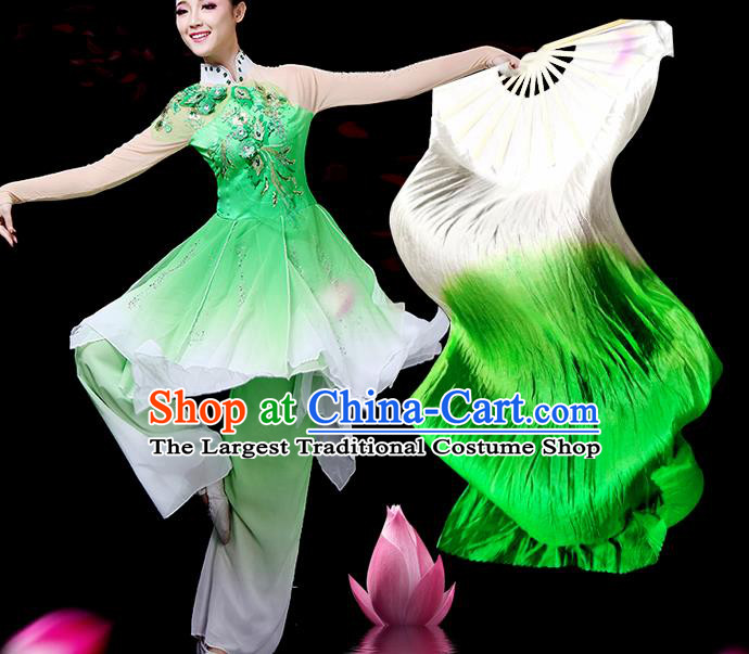 Traditional Chinese Folk Dance Green Silk Fan Stage Performance Yangko Dance Ribbon Folding Fan