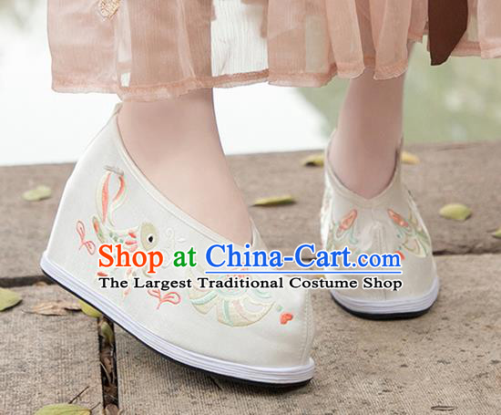 Asian Chinese Traditional Wedding Shoes Embroidered Beige Shoes Opera Shoes Hanfu Shoes for Women