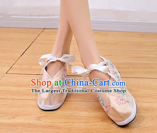Asian Chinese Traditional Wedding Beige Satin Shoes Embroidered Shoes Opera Shoes Hanfu Shoes for Women