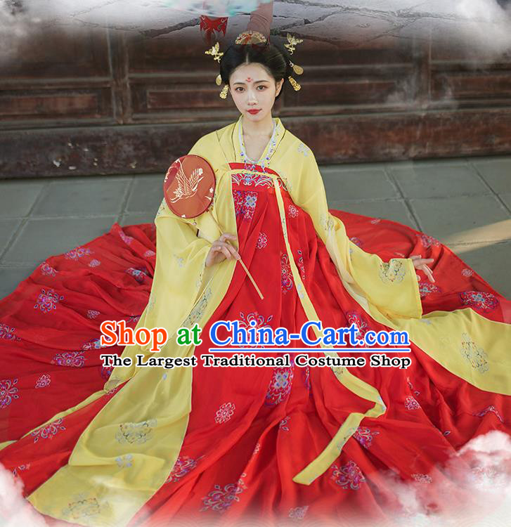 Traditional Chinese Tang Dynasty Imperial Consort Red Hanfu Dress Ancient Royal Princess Historical Costumes for Women
