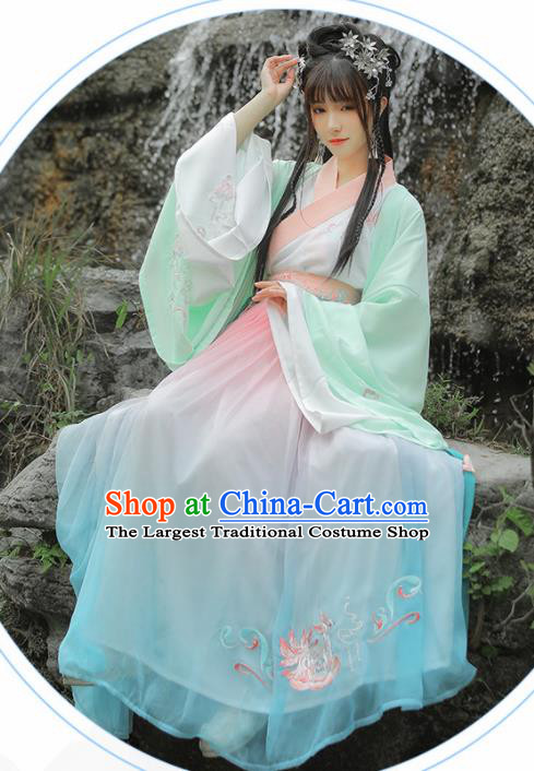 Traditional Chinese Jin Dynasty Imperial Consort Hanfu Dress Ancient Palace Princess Historical Costumes for Women