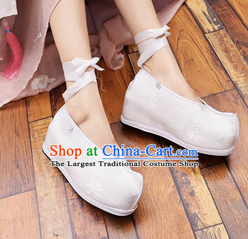Asian Chinese Traditional Princess Shoes White Satin Shoes Opera Shoes Hanfu Shoes for Women