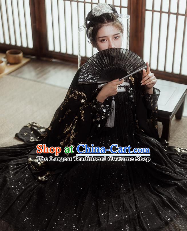 Traditional Chinese Tang Dynasty Imperial Consort Black Hanfu Dress Ancient Nobility Lady Historical Costumes for Women