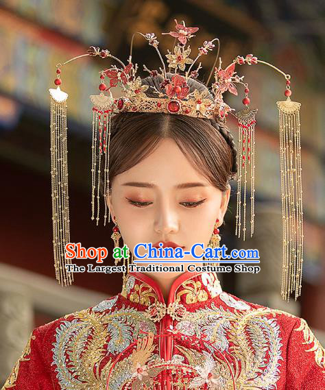 Chinese Traditional Ancient Bride Red Butterfly Tassel Phoenix Coronet Wedding Hair Accessories for Women
