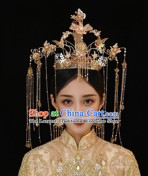 Chinese Traditional Ancient Bride Golden Butterfly Tassel Phoenix Coronet Wedding Hair Accessories for Women