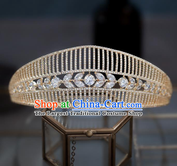 Top Grade Baroque Queen Zircon Golden Royal Crown Wedding Bride Hair Accessories for Women