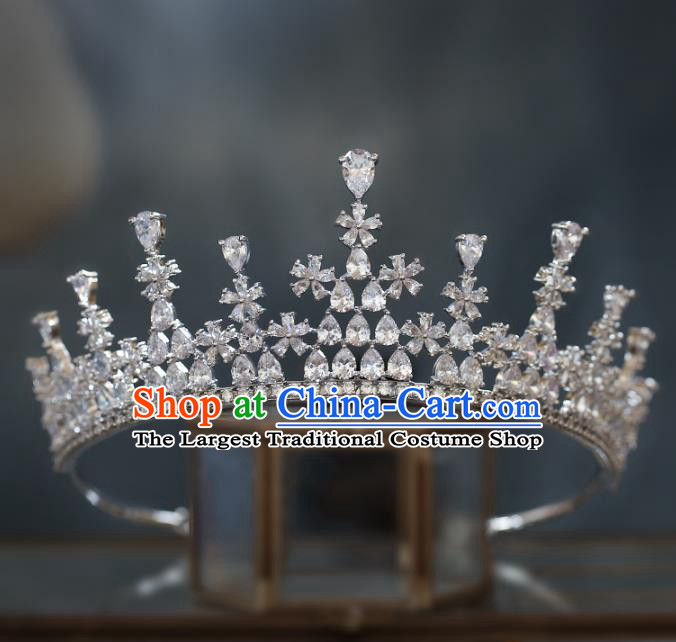 Top Grade Baroque Queen Zircon Argent Royal Crown Wedding Bride Hair Accessories for Women
