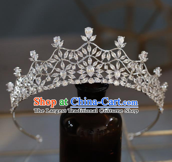 Top Grade Baroque Queen Luxury Zircon Royal Crown Wedding Bride Hair Accessories for Women