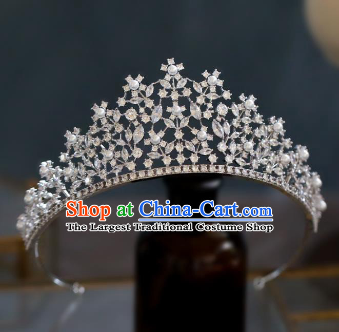 Top Grade Baroque Queen Luxury Zircon Flowers Royal Crown Wedding Bride Hair Accessories for Women
