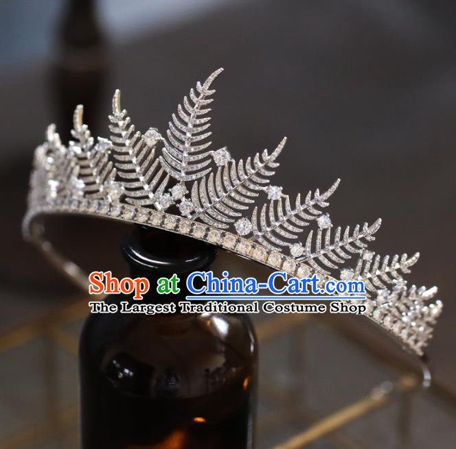Top Grade Baroque Queen Luxury Zircon Leaf Royal Crown Wedding Bride Hair Accessories for Women