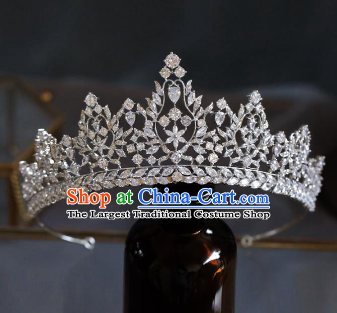 Top Grade Baroque Luxury Zircon Royal Crown Wedding Queen Hair Accessories for Women