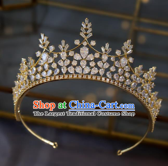 Top Grade Baroque Luxury Zircon Golden Royal Crown Wedding Queen Hair Accessories for Women