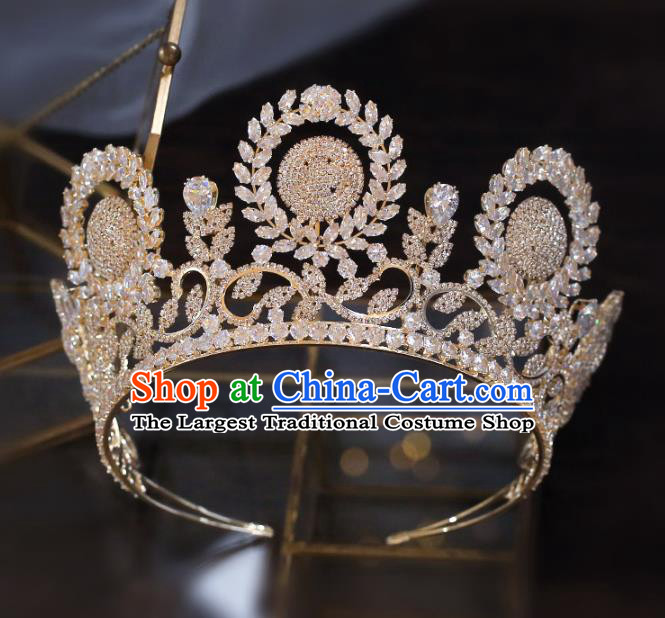 Top Grade Baroque Bride Golden Zircon Royal Crown Wedding Queen Hair Accessories for Women