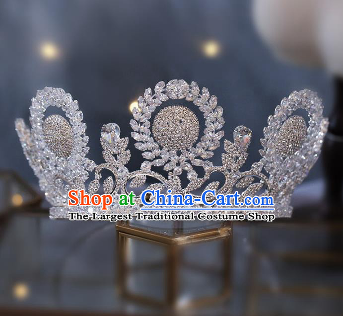 Top Grade Baroque Bride Zircon Royal Crown Wedding Queen Hair Accessories for Women