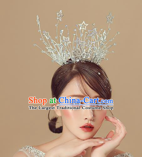 Top Grade Baroque Queen Crystal Stars Royal Crown Wedding Bride Hair Accessories for Women