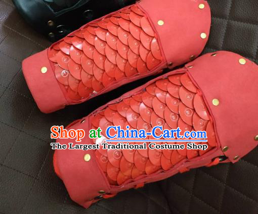 Chinese Traditional Ming Dynasty Red Wrist Armor Ancient Swordsman Armband for Men