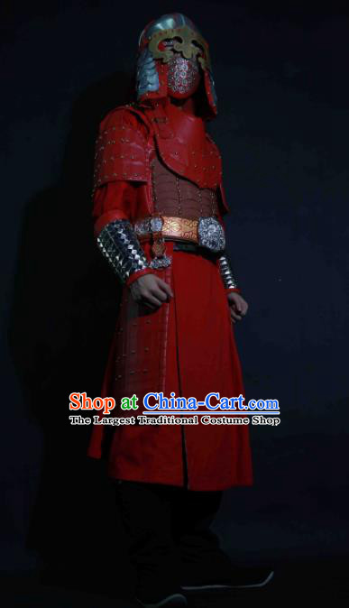 Chinese Traditional Yuan Dynasty General Red Body Armor Ancient Swordsman Costumes for Men
