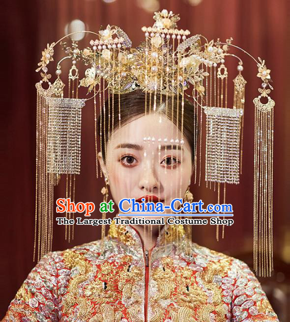 Chinese Traditional Ancient Bride Golden Beads Tassel Phoenix Coronet Wedding Hair Accessories for Women