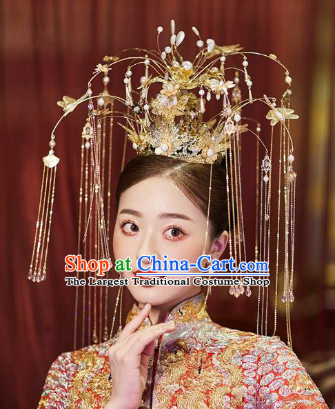 Chinese Traditional Ancient Bride Luxury Golden Tassel Phoenix Coronet Wedding Hair Accessories for Women