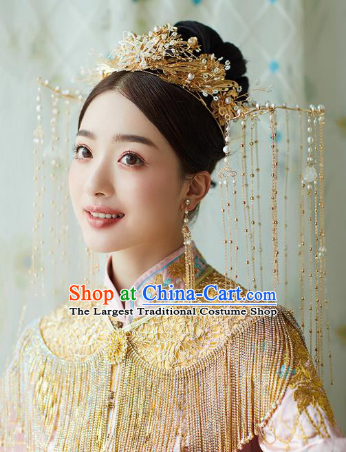 Chinese Traditional Ancient Bride Headdress Luxury Golden Tassel Phoenix Coronet Wedding Hair Accessories for Women