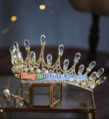 Top Grade Baroque Bride Golden Royal Crown Wedding Queen Hair Accessories for Women