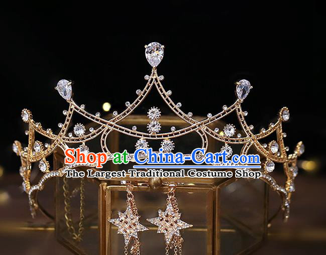 Top Grade Baroque Bride Zircon Golden Royal Crown Wedding Queen Hair Accessories for Women