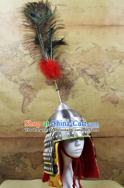Chinese Traditional Yuan Dynasty General Argent Helmet Ancient Soldier Hat Headwear for Men