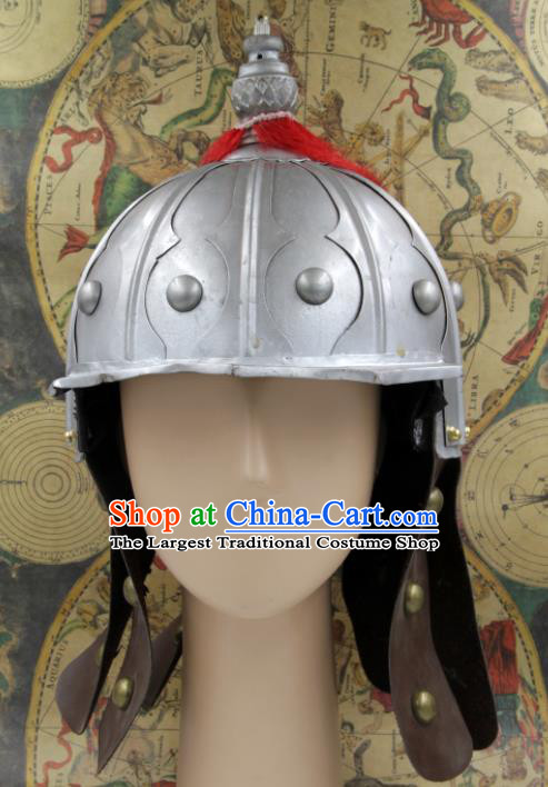 Chinese Traditional Ming Dynasty General Argent Helmet Ancient Soldier Hat Headwear for Men