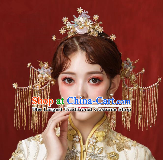Chinese Ancient Pink Jade Hair Comb Bride Headdress Traditional Wedding Hair Accessories for Women