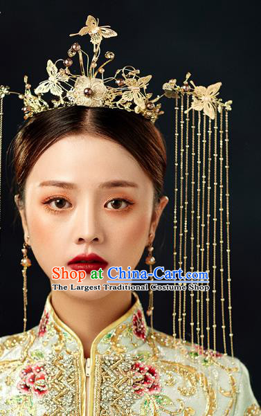 Chinese Wedding Headdress Golden Butterfly Phoenix Coronet Traditional Ancient Bride Hair Accessories for Women