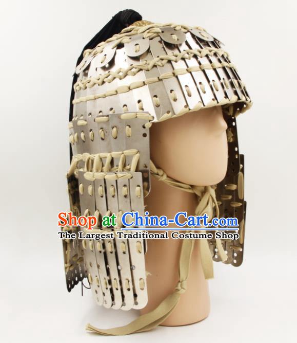 Chinese Traditional Yuan Dynasty General Helmet Ancient Soldier Argent Hat Headwear for Men