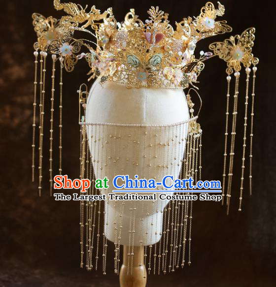Chinese Ancient Bride Headdress Golden Butterfly Hairpins Phoenix Coronet Traditional Wedding Hair Accessories for Women