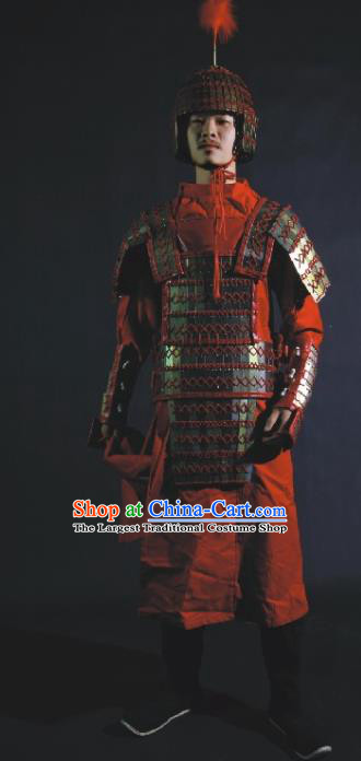 Chinese Traditional Qin Dynasty General Body Armor Ancient Swordsman Costumes for Men