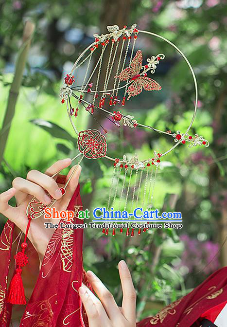 Chinese Traditional Cloisonne Red Butterfly Palace Fans Handmade Classical Hanfu Wedding Fan for Women