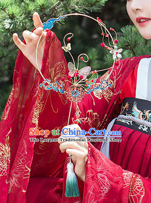 Chinese Traditional Cloisonne Phoenix Palace Fans Handmade Classical Hanfu Wedding Fan for Women