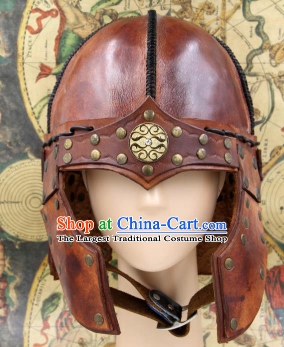 Chinese Traditional Yuan Dynasty General Brown Leather Helmet Ancient Soldier Hat Headwear for Men