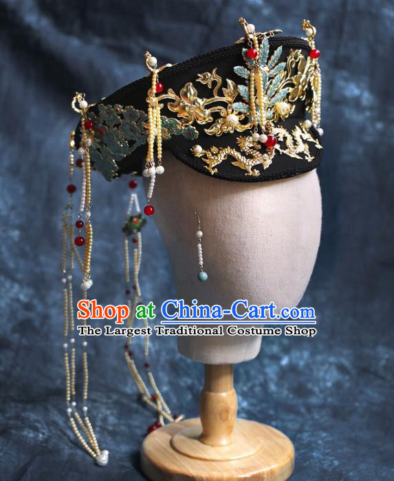Chinese Traditional Qing Dynasty Queen Hat Hairpins Ancient Empress Hair Accessories for Women