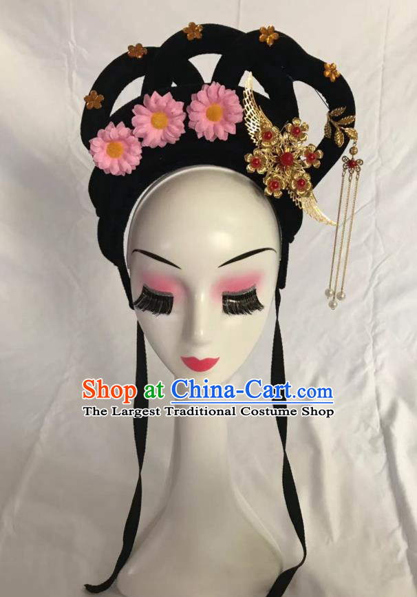 Traditional Chinese Opera Wig Sheath and Pink Flower Hairpins Headdress Peking Opera Diva Hair Accessories for Women