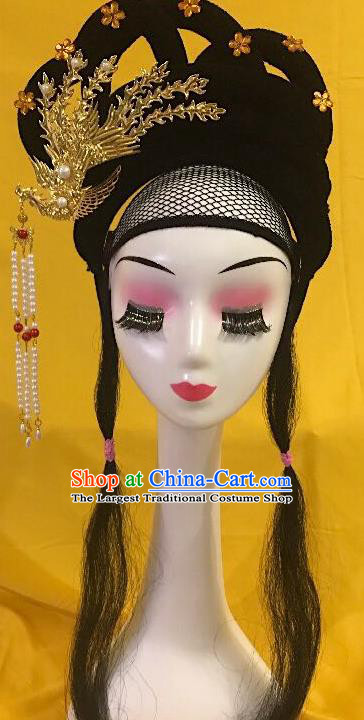 Traditional Chinese Opera Wig Sheath and Phoenix Hairpins Headdress Peking Opera Diva Hair Accessories for Women