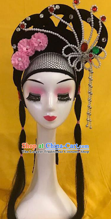 Traditional Chinese Opera Diva Wig Sheath and Phoenix Hairpins Headdress Peking Opera Goddess Hair Accessories for Women