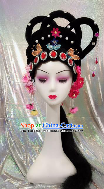 Traditional Chinese Beijing Opera Goddess Wig Sheath and Hairpins Headdress Peking Opera Diva Hair Accessories for Women